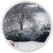 Snowfall 1 Round Beach Towel