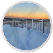 Snowfall At The Shore Round Beach Towel