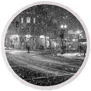 Snowfall In Harvard Square Cambridge Ma 2 Black And White Round Beach Towel