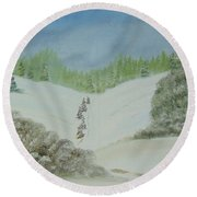 Snowfall In The Valley Round Beach Towel