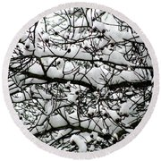 Snowfall On Branches Round Beach Towel