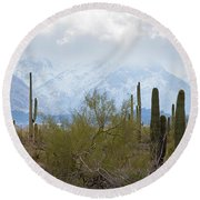 Snowfall On The Mountains Round Beach Towel
