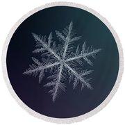 Snowflake Photo - Neon Round Beach Towel by Alexey Kljatov