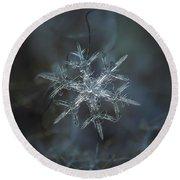 Snowflake Photo - Rigel Round Beach Towel by Alexey Kljatov