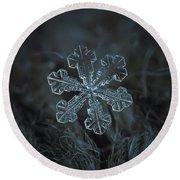 Snowflake Photo - Vega Round Beach Towel by Alexey Kljatov