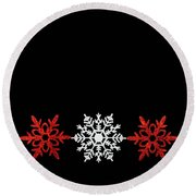 Snowflakes In A Row Round Beach Towel