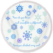 Snowflakes Round Beach Towel by Methune Hively