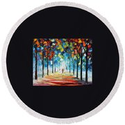 Snowing Alley Round Beach Towel