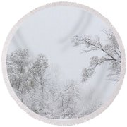 Snowing In A Starbucks Parking Lot Round Beach Towel
