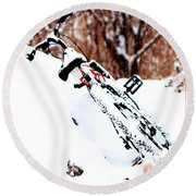 Snowing On The Bicycle Round Beach Towel