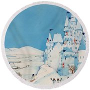 Snowman Castle Round Beach Towel