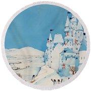 Snowman Castle Round Beach Towel by Christian Kaempf