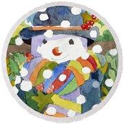 Snowman In Snow Round Beach Towel