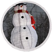 Snowman On The Roof Round Beach Towel