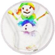 Snowman With Rainbow 1 Round Beach Towel