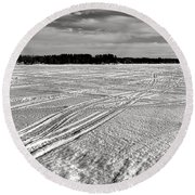 Snowmobile Tracks On China Lake Round Beach Towel