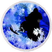 Snowmobiling In The Avalanche  Round Beach Towel