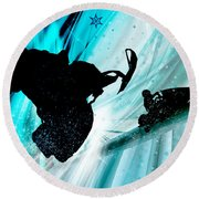 Snowmobiling On Icy Trails Round Beach Towel