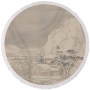 Snowscape From Album For Zhou Lianggong Round Beach Towel