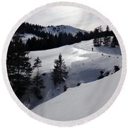 Snowshoeing Switzerland's La Berra Round Beach Towel