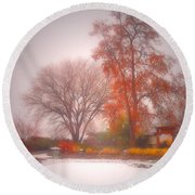Snowstorm In The Japanese Gardens Round Beach Towel