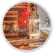 Snowstorm On Tremont Street Boston Ma Park Street Church Round Beach Towel