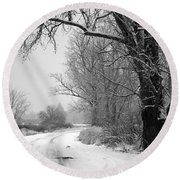 Snowy Branch Over Country Road - Black And White Round Beach Towel