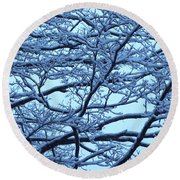 Snowy Branches Landscape Photograph Round Beach Towel