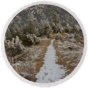 Snowy Colorado Trail Round Beach Towel