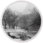 Snowy Day On Redd's Pond And Old Burial Hill Round Beach Towel