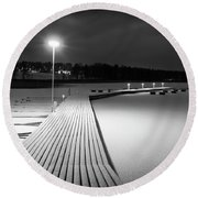 Snowy Dock Round Beach Towel