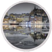 Snowy, Dreamy Reflection In Stockholm Round Beach Towel