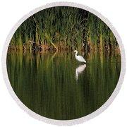 Snowy Egret In Marsh Reinterpreted Round Beach Towel