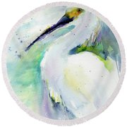 Snowy Egret On Lido Beach Round Beach Towel