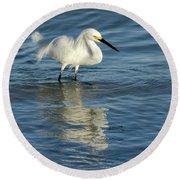 Snowy Egret On The Hunt II Round Beach Towel