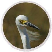 Snowy Egret Profile 2 Round Beach Towel