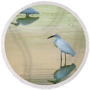 Snowy Egret Reflections  Round Beach Towel