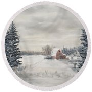Snowy Farm  Round Beach Towel