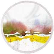 Snowy Field Round Beach Towel