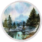 Snowy Lake Reflections Round Beach Towel
