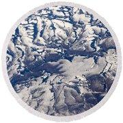 Snowy Landscape Aerial Round Beach Towel