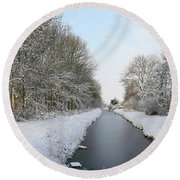 Frozen Scenery Along Canal Round Beach Towel
