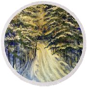 Snowy Lane Round Beach Towel