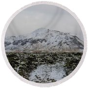 Snowy Lava Fields Iceland Round Beach Towel