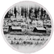 Snowy Log Cabins At Valley Forge Round Beach Towel