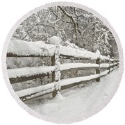 Snowy Morning Round Beach Towel