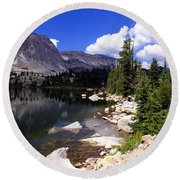 Snowy Mountain Lake Round Beach Towel