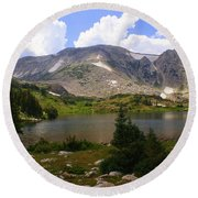 Snowy Mountain Loop 9 Round Beach Towel by Marty Koch