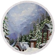 Snowy Mountain Resort Round Beach Towel