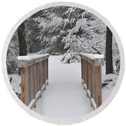 Snowy Path Round Beach Towel
